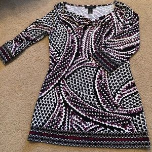 Black/white/purple/berry tunic